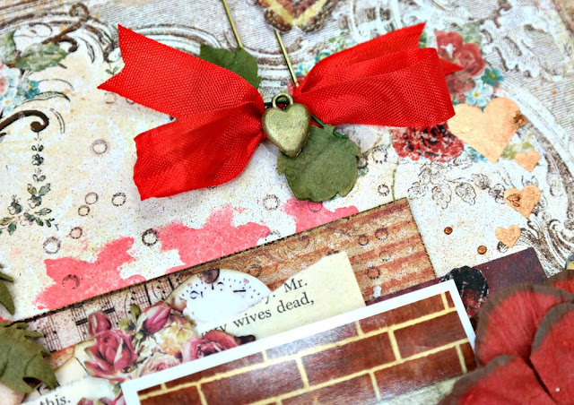 Painted Metal Heart Charm on a Romantic Scrapbook Layout by Dana Tatar