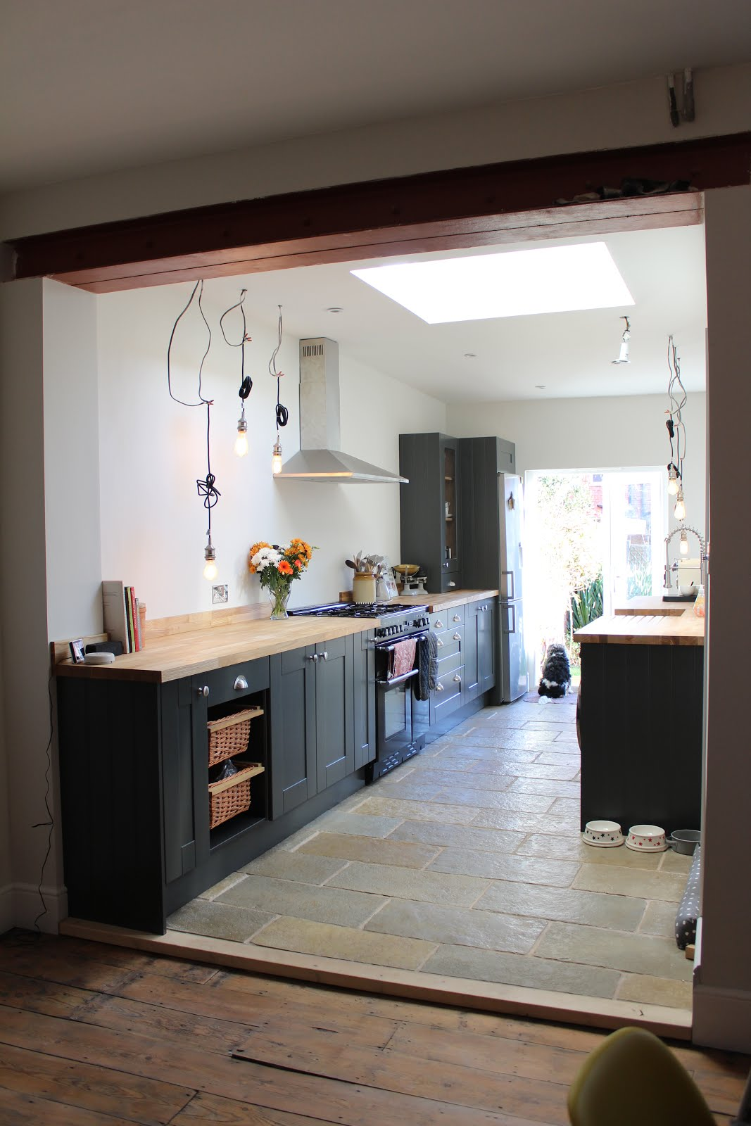 open plan galley kitchen