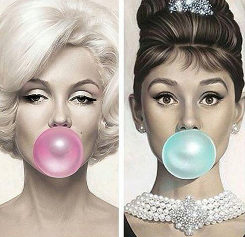 Marilyn Monroe Audrey Hepburn Bubblegum