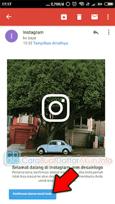 cara verifikasi email instagram