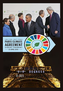 composite image of various presidents shaking hands during the signing of the Paris Accord plus the logo created for the event plus the Eiffel tower at night with the claim of 1.5 degree reduction crossed out in favor of a much lower fraction