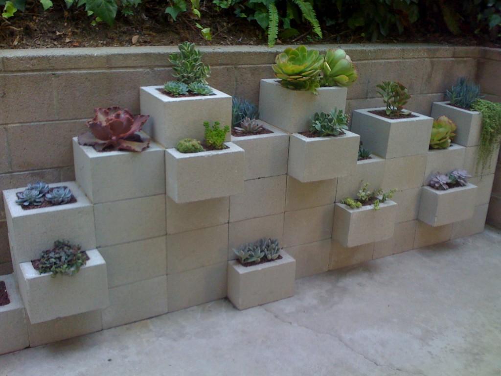 Cinder Block Garden: Potted's cinder block planter wall