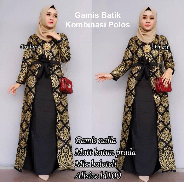 Gamis Batik Kombinasi Brokat Nusagates