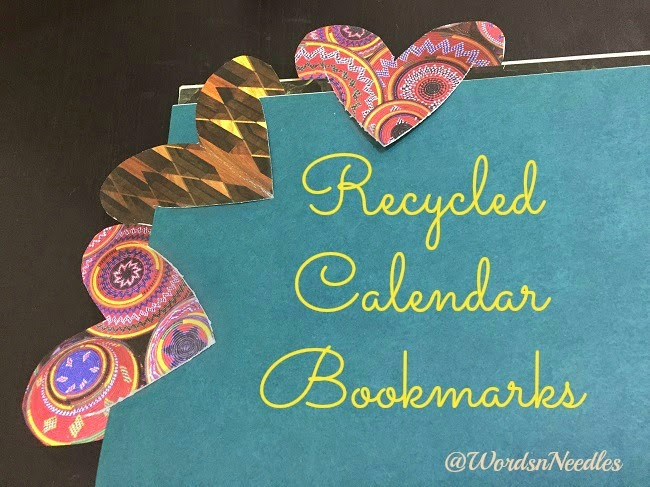 Recycled calendar heart bookmarks