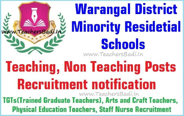 Teaching, Non Teaching posts,Warangal Minority Residential Schools