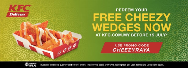 KFC Delivery Malaysia Promo Code Free Cheezy Wedges Large