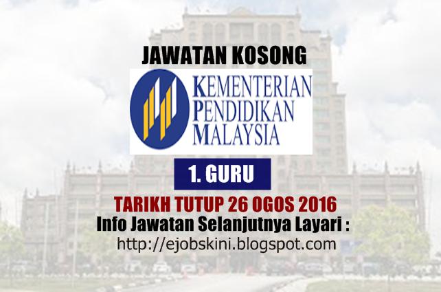 jawatan kosong di kementerian pendidikan malaysia (moe) ogos 2016