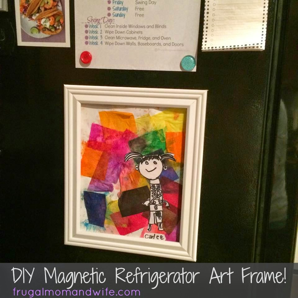 frugal mom and wife diy magnetic refrigerator art frame