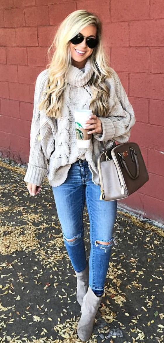 how to wear a sweater : bag + ripped jeans + boots