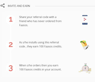 earn more Faasos cash credits by referring - Get Rs 100 per each successful refer