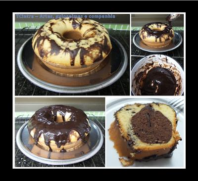 BOLO BAUNILHA COM CHOCOLATE; bolo caseiro; lanche ou café da manhã