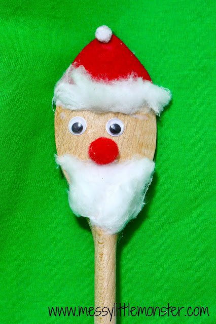 santa spoon puppet simple craft