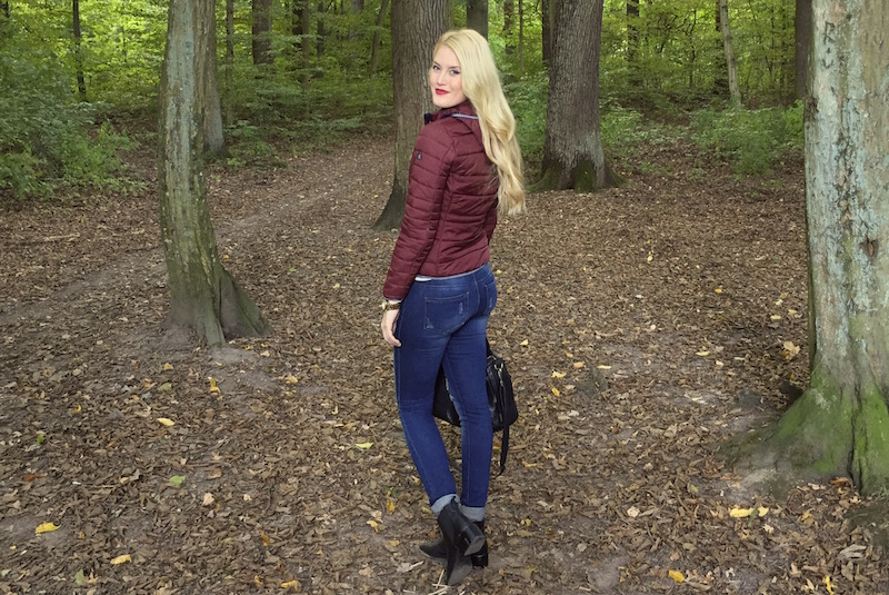TheBlondeLion Outfit Fashion Functional Look Autumn Steppjacke Marine Shirt Streifen Gaastra