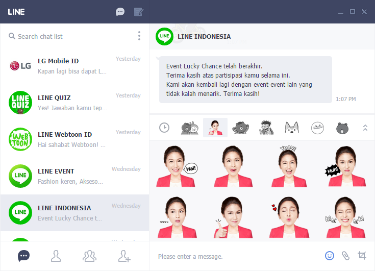 Sticker Sandra Dewi LINE Google Chrome