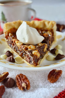 This Recipe for easy southern chocolate pecan pie is the best homemade dessert for any party or holiday celebration! A classic with a chocolate twist. Because everything is better with chocolate. Top with caramel flavored whipped cream for the perfect garnish!