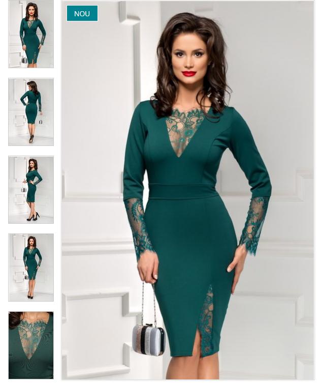 Rochie midi verde eleganta cu maneci din dantela ieftina online