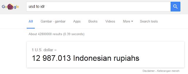 Cek kurs dollar ke rupiah dengan Search Google