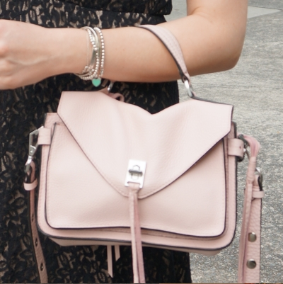 black lace dress, silver bracelet stack and Rebecca Minkoff small Darren messenger bag in peony | awayfromtheblue