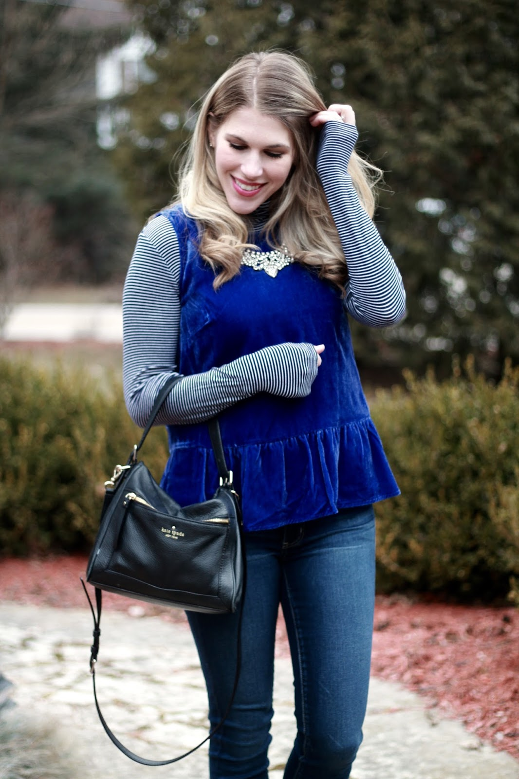 blue velvet peplum top, striped turtleneck, AEO skinny jeans, leopard heels, black Kate Spade crossbody bag,