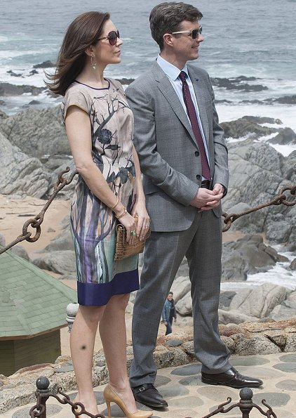 Crown Prince Frederick and Crown Princess Mary visit the former house of Chilean poet Pablo Neruda at Isla Negra