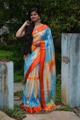 Shibori Shaded Kota Saree With Satin Border