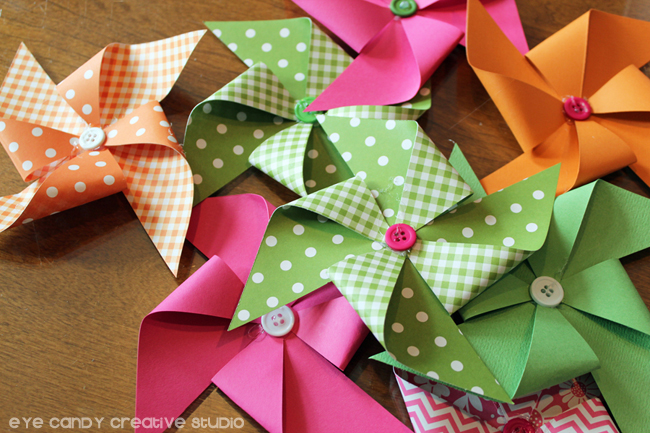 pinwheels complete, button centers on pinwheels, make a summer wreath