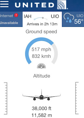 United Airlines app altitude screen