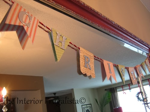 Mini Christmas bunting flag banner with scrapbooking paper