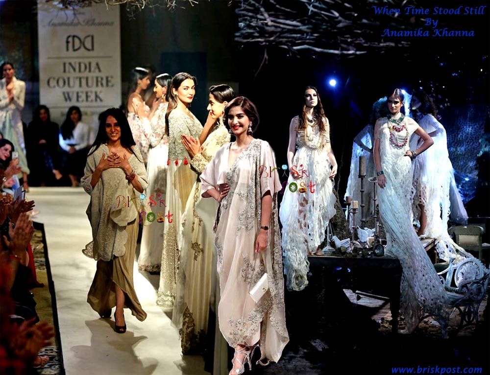 Sonam Kapoor turned showstopper to support designer Anamika Khanna's romantic collection When Time Stood Still at India Couture Week
