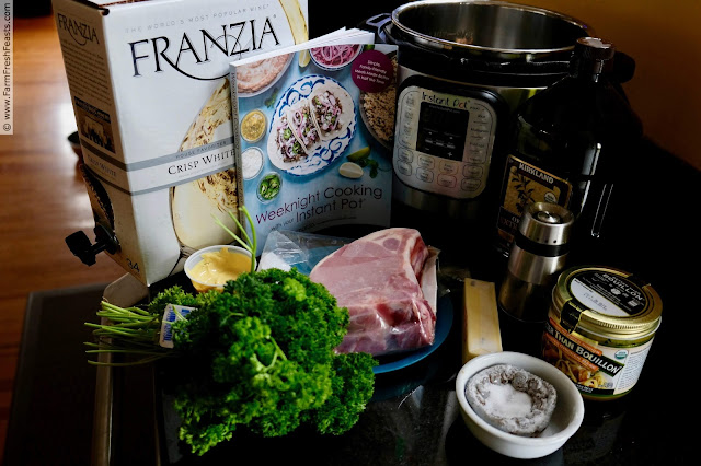 image of ingredients used to make Weeknight Instant Pot Pork Chops with a Dijon Pan Sauce