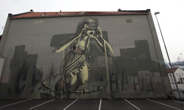 """""""Chant"""", Street Art Mural By Faith47 For Nuart In Stavanger, Norway."""