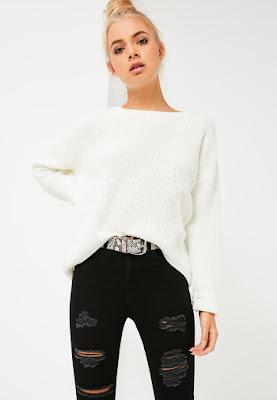 pull blanc effet queue de pie