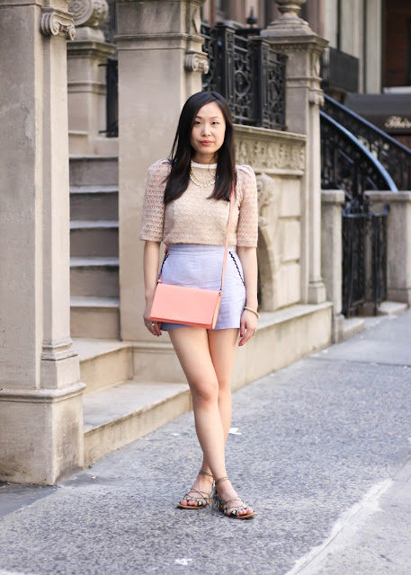 High-Waist Cotton Shorts and Lace Top Outfit