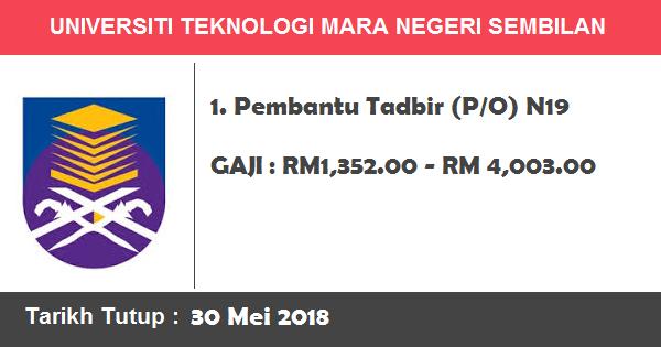 Job in Universiti Teknologi Mara (UiTM) Negeri Sembilan (30 Mei 2018)