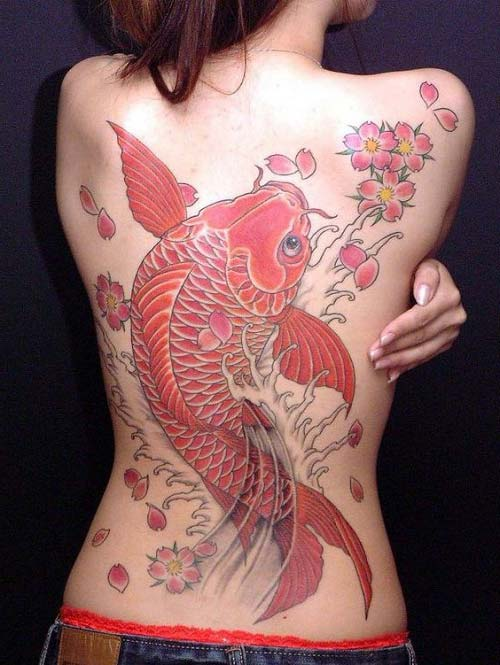 woman full back koi fish tattoos koi balığı dövmeleri