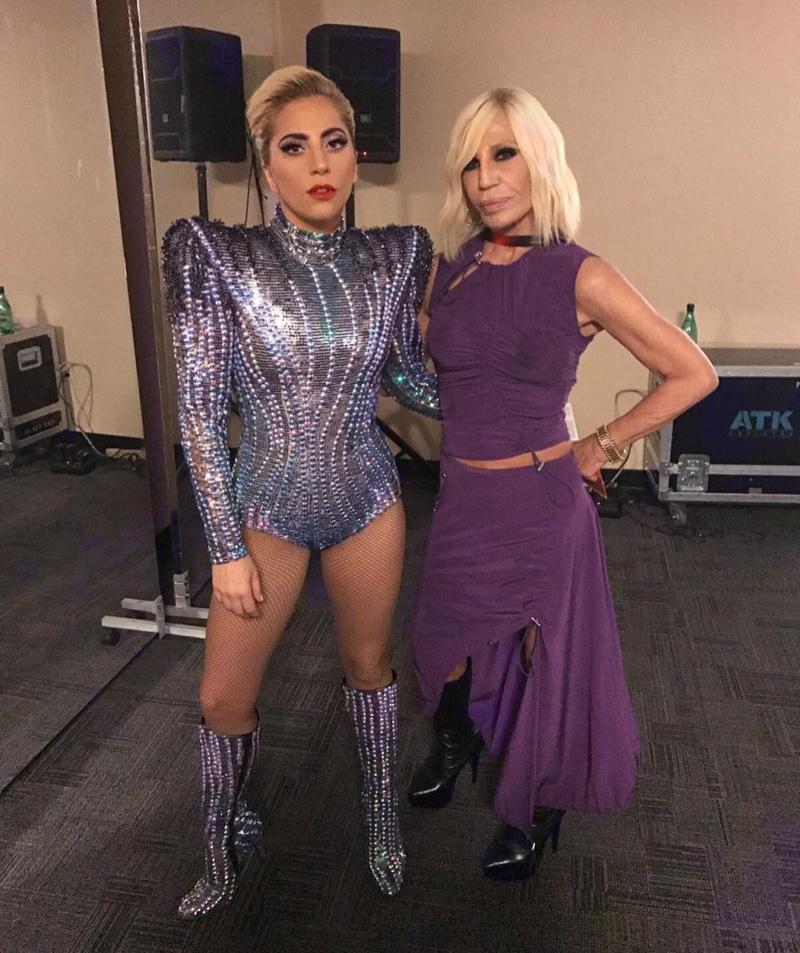 Lady Gaga wears an Atelier Versace crystal-embellished bodysuit