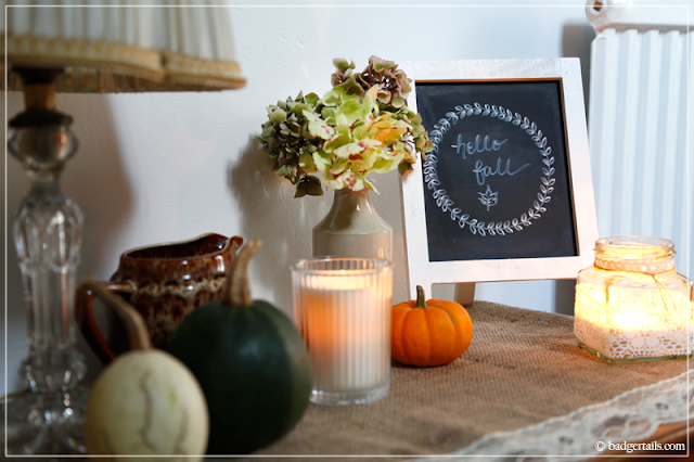 Fall Display, Autumn Decoration with Dried Hydrangeas & Word Art