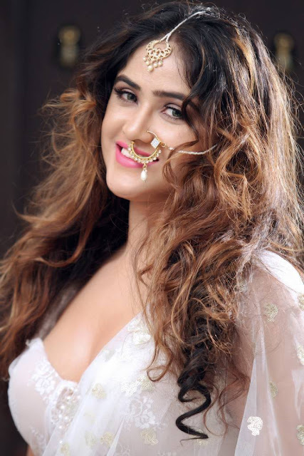 Sony Charishta Photo Shoot Stills in White Saree