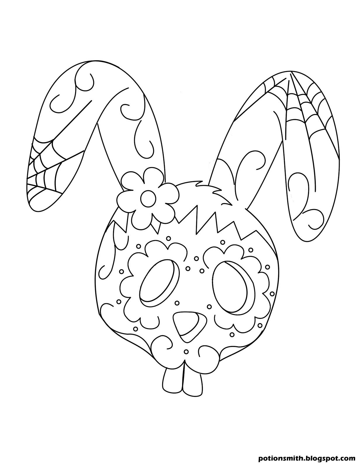 candy skull coloring pages - potionsmith sugar skull bunnies