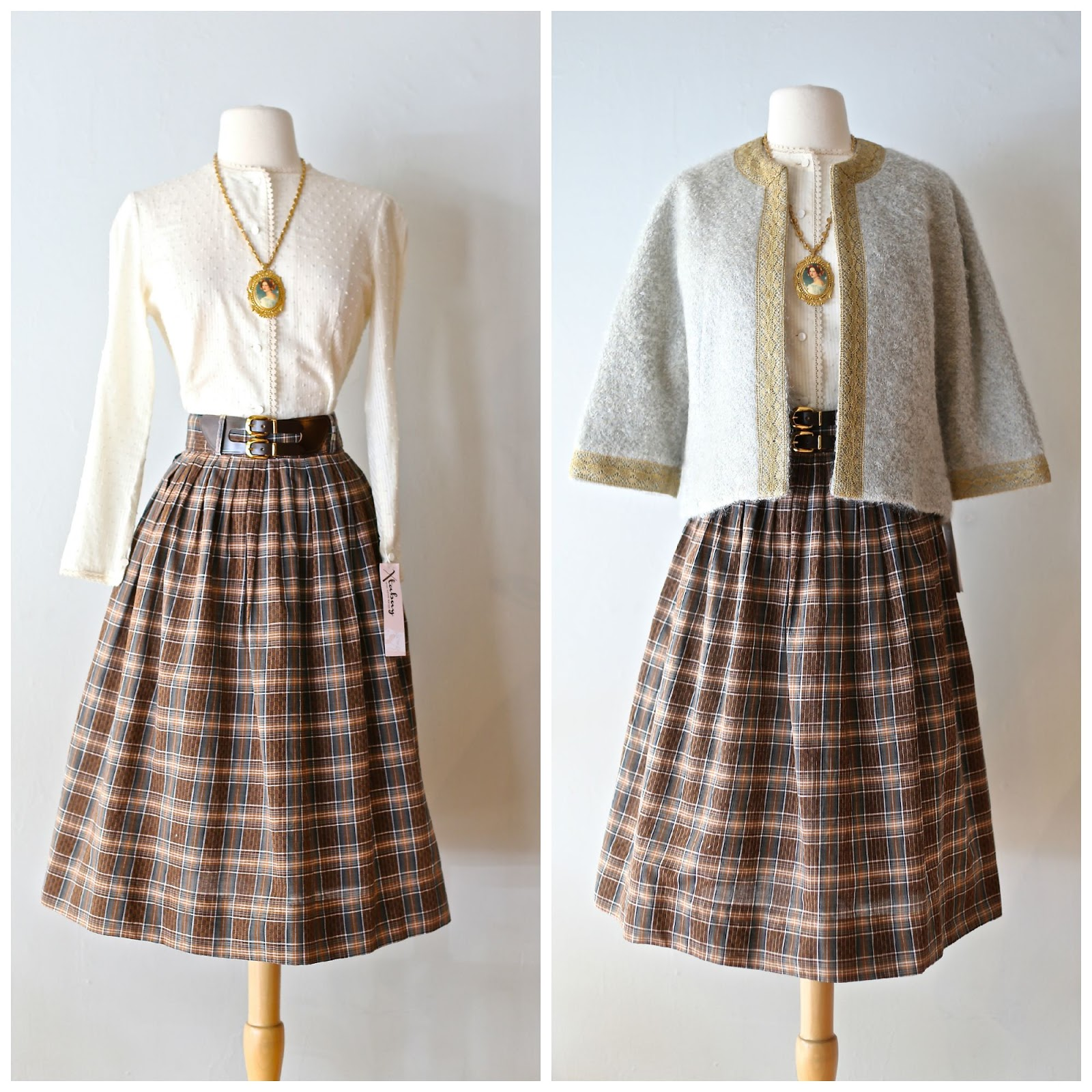 87d65d39b12b9 1950's plaid skirt paired with 50's wool boucle cardigan a vintage Miriam  Haskell cameo necklace and Xtabay blouse. All items available in our Etsy  shop.