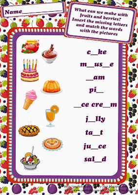 cooking with fruits worksheet for learning english