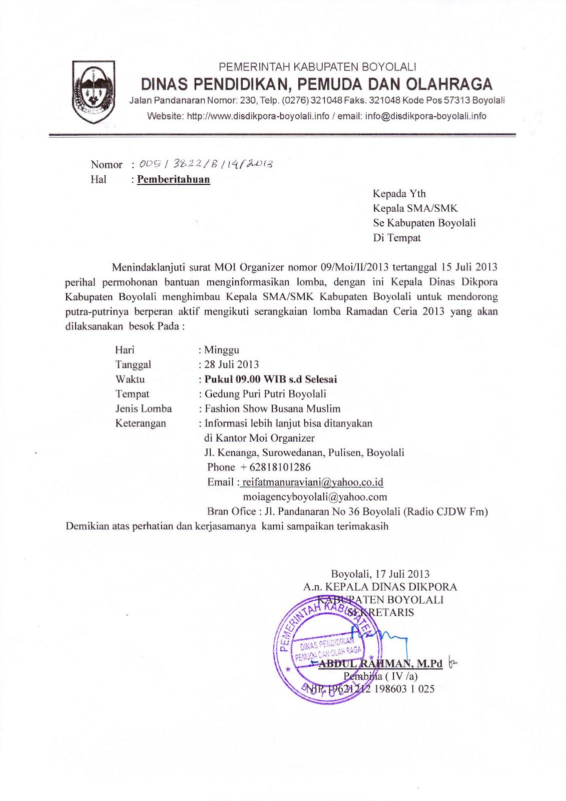 Info Sma Smk Kabupaten Boyolali Surat Permohonan