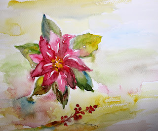 poinsettia flower watercolor painting christmas