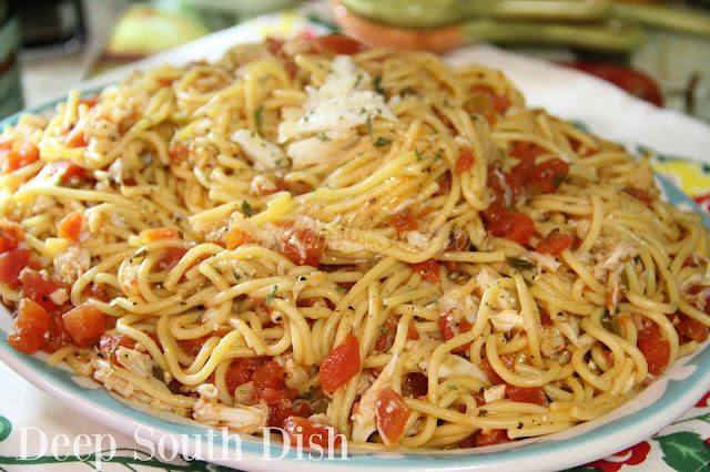 A nice light pasta dish made with fresh crab, garden tomatoes, fresh basil, butter and olive oil. Great with other proteins or even all on its own too!