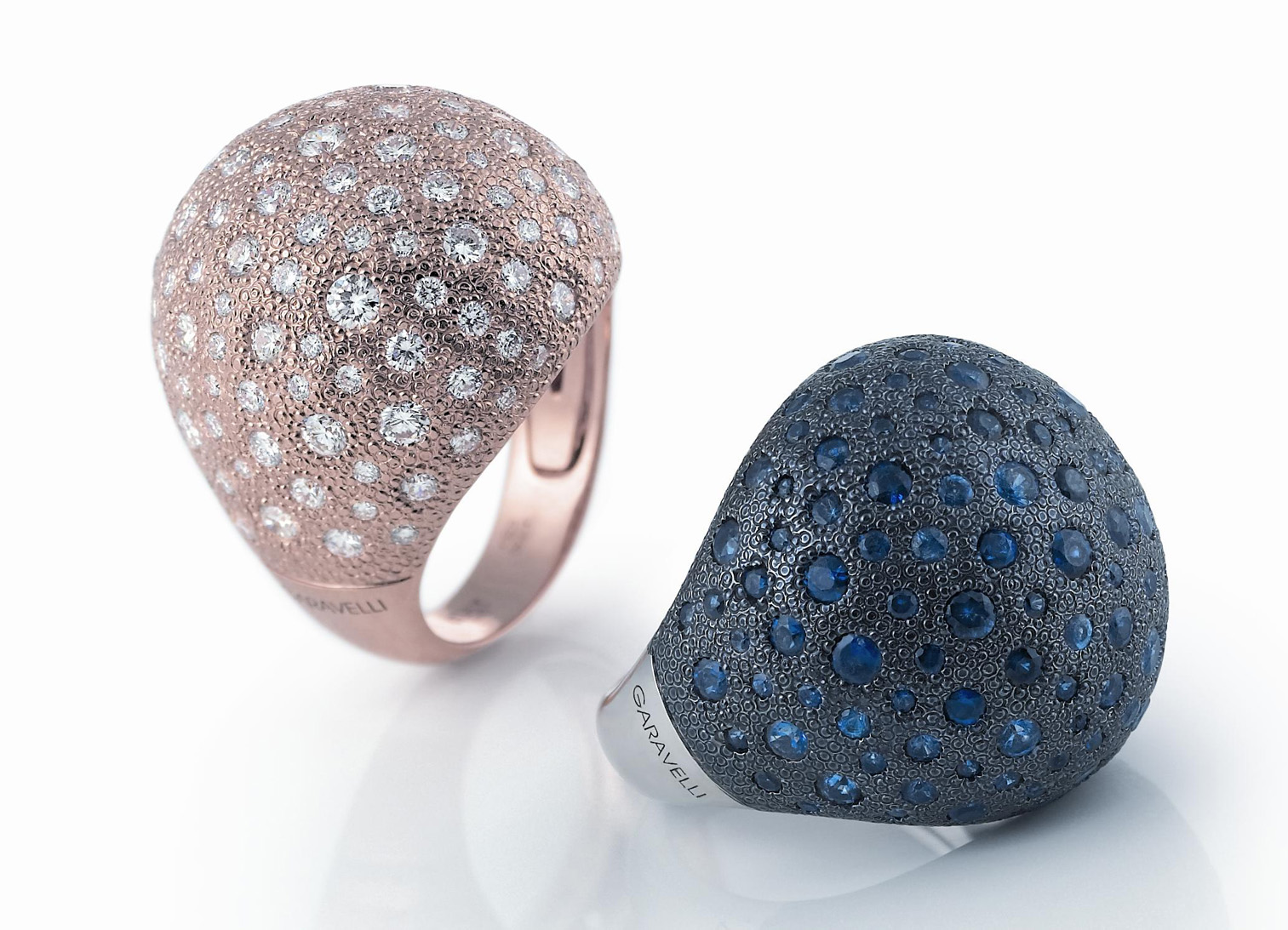 78ac87124 The Garavelli Dune collection uses shapes created with hammered 18k gold  then covered with diamonds of various size. The line includes rings,  bracelets, ...