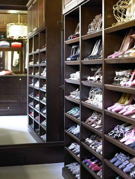 For the ultimate in shoe storage, try yards of angled shelves that keep footwear displayed so the owner can see everything