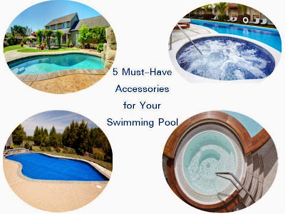 Picture of 4 different pools. This article is about 5 Must-Have Accessories For Your Swimming Pool