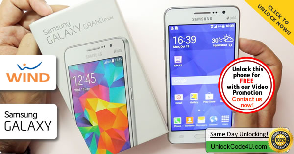 Factory Unlock Code Samsung Galaxy Grand Prime from Wind
