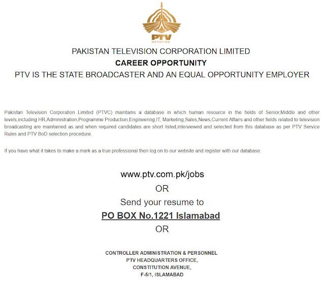 PTV Jobs December 2018-19 Pakistan Television Corporation