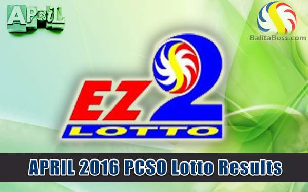 Image: April 2016 PCSO EZ2 Lotto